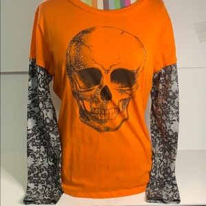 Glitter skull and floral sleeve shirt